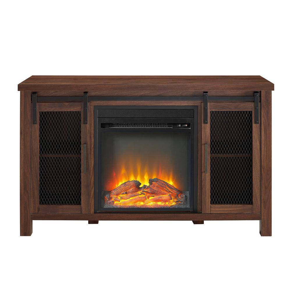 Walker Edison Furniture Company 48 in. Dark Walnut Composite TV Stand 52 in. with Electric Fireplace