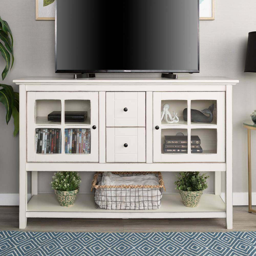 Walker Edison Furniture Company 52 in. Transitional Wood and Glass Buffet - Antique White