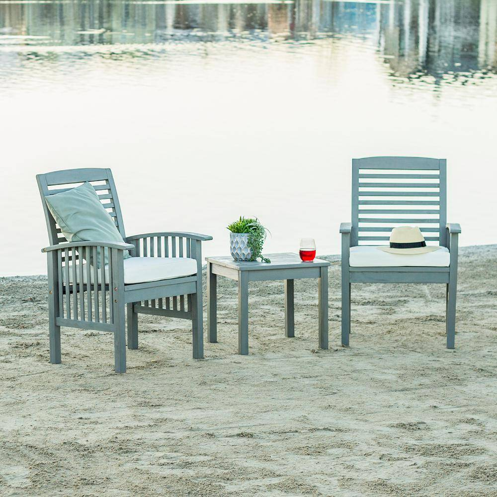 Walker Edison Furniture Company Grey Wash 3-Piece Classic Wood Outdoor Patio Chat Set with Cream Cushions