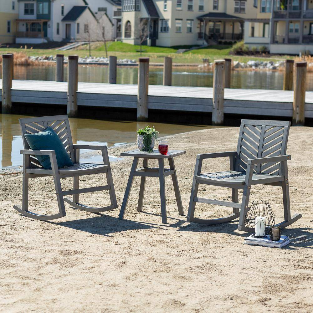 Walker Edison Furniture Company Chevron Grey Wash 3-Piece Rocking Wood Outdoor Chair Chat Set