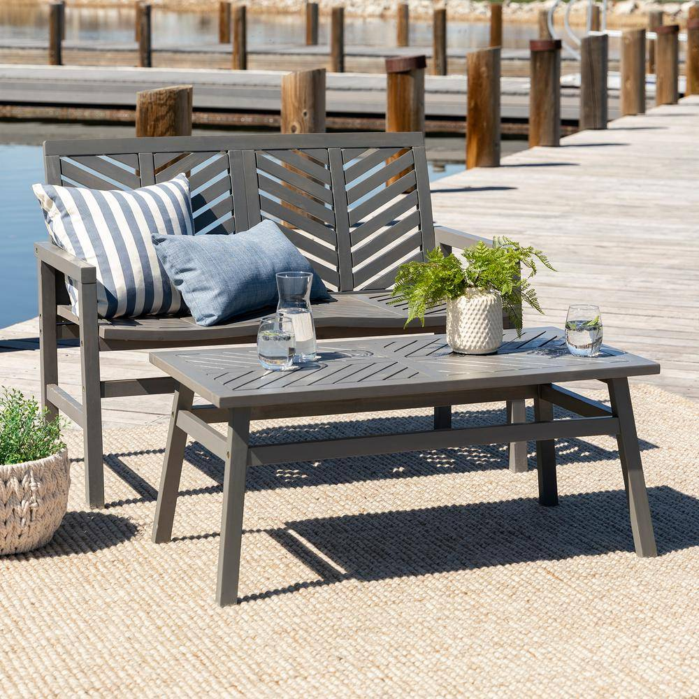 Walker Edison Furniture Company Grey Wash 2-Piece Wood Chevron Outdoor Patio Chat Set