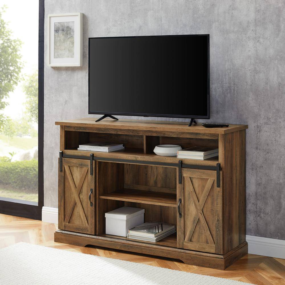 Walker Edison Furniture Company 52 in. Rustic Oak Composite TV Stand 56 in. with Doors