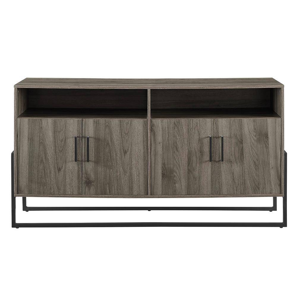 Walker Edison Furniture Company 58 in. Slate Gray Composite TV Stand 64 in. with Doors, Slate Grey