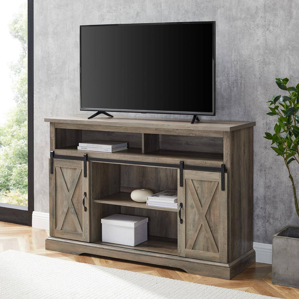 Walker Edison Furniture Company 52 in. Gray Wash Composite TV Stand 56 in. with Doors, Grey Wash