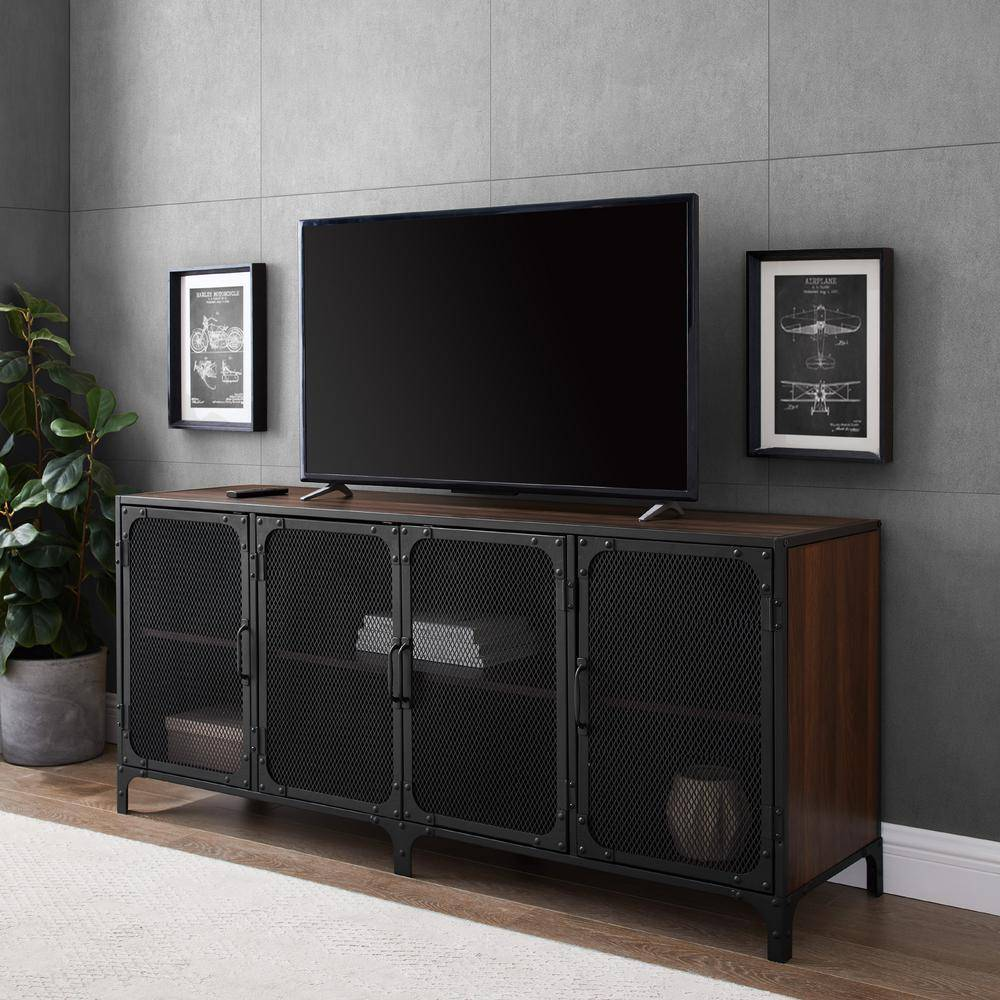 Walker Edison Furniture Company 60 in. Dark Walnut Composite TV Stand Fits TVs Up to 66 in. with Storage Doors