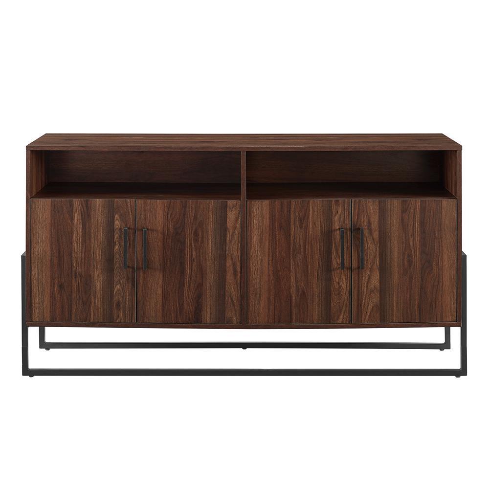 Walker Edison Furniture Company 58 in. Dark Walnut Composite TV Stand 64 in. with Doors