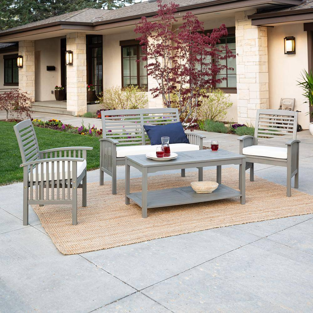 Walker Edison Furniture Company Chevron Grey Wash 4-Piece Classic Wood Outdoor Patio Conversation Set with Beige Cushions