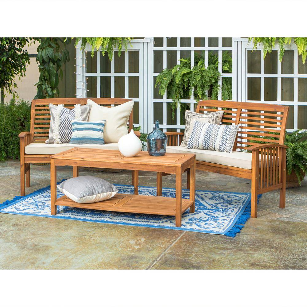 Walker Edison Furniture Company Brown 3-Piece Acacia Wood Outdoor Patio Conversation Set with Tan Cushions