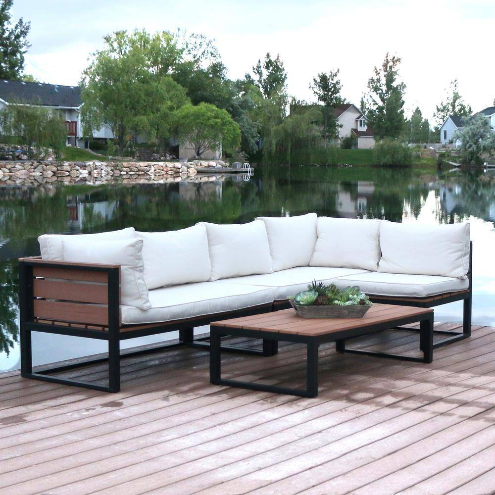 Walker Edison Furniture Company 4-Piece Natural All-Weather Outdoor Aluminum Conversation Set with Cream Cushions