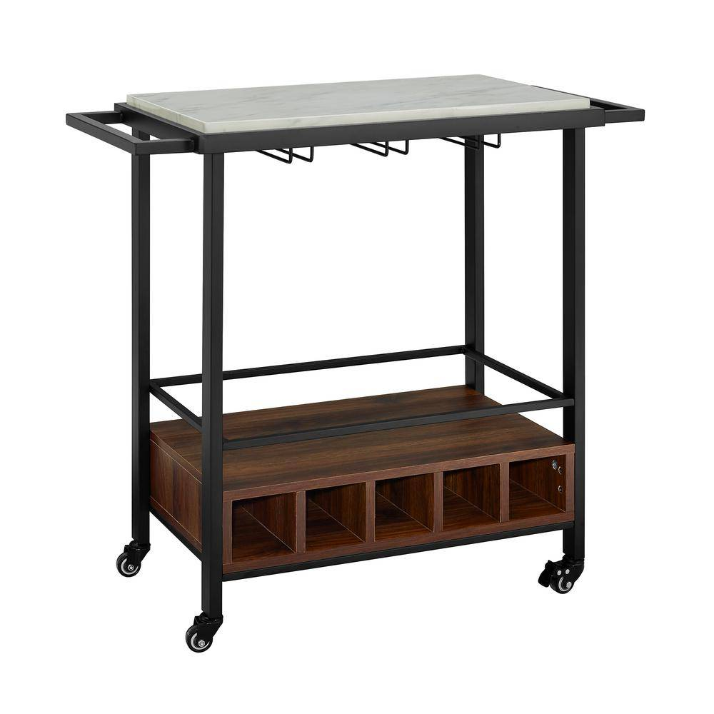 Walker Edison Furniture Company 34 in. White Marble Serving Bar Cart with Dark Walnut Base, Brown
