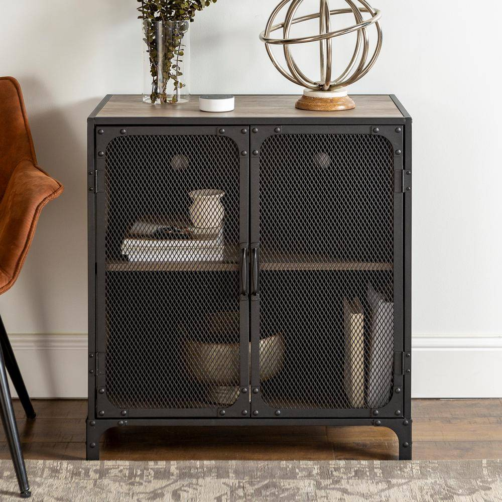 Walker Edison Furniture Company 30 in. Grey Wash Industrial Accent Cabinet with Mesh