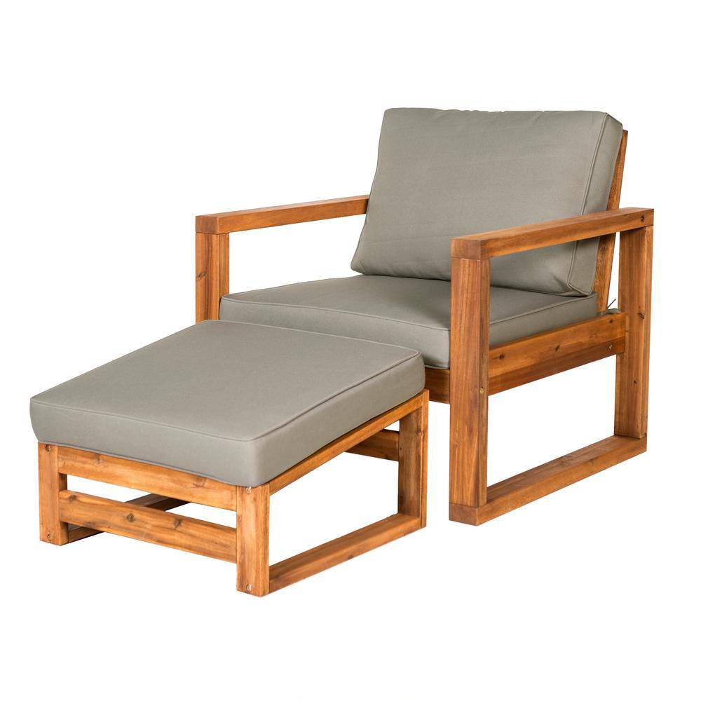 WALKER EDISON FURNITURE Brown Open Side Acacia Wood Outdoor Lounge Chair with Ottoman and Gray Cushion