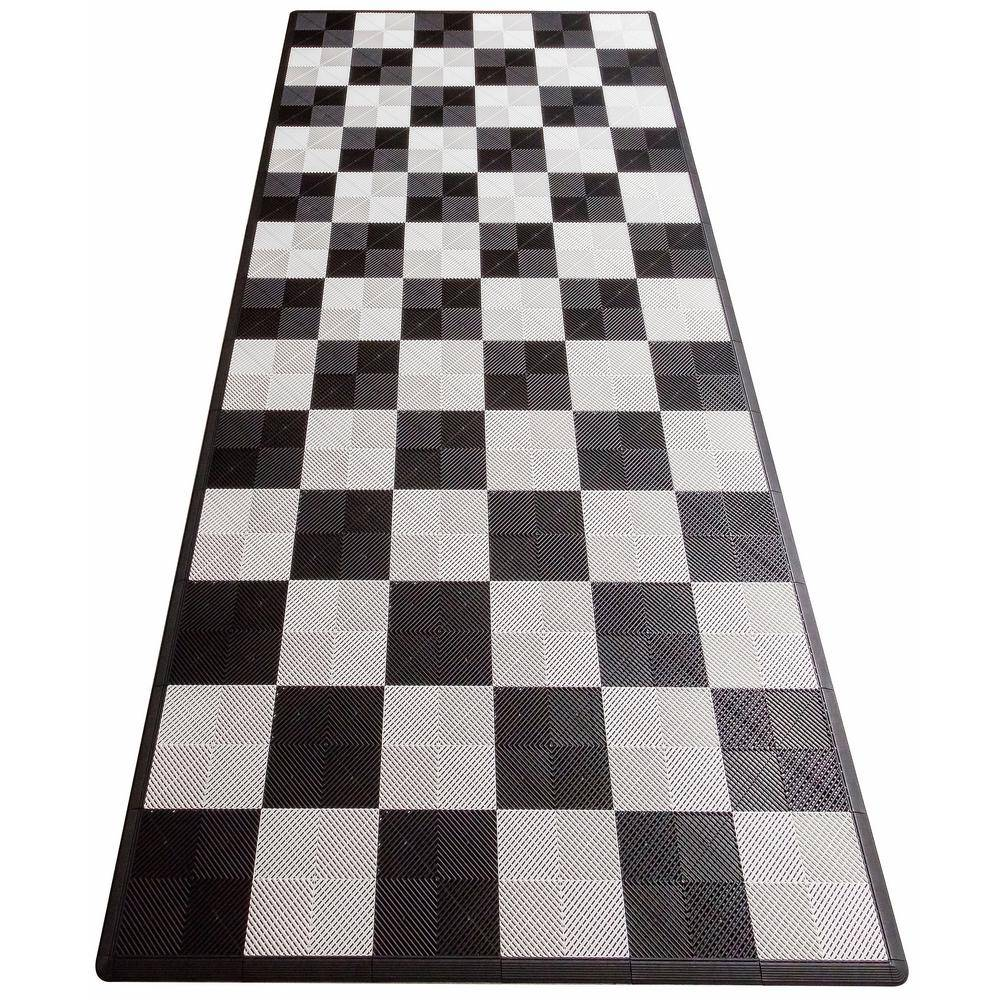 Swisstrax Black and White Checkered Single Car Pad Ribtrax Modular Tile Flooring (134 sq. ft./case), Artic White and Jet Black