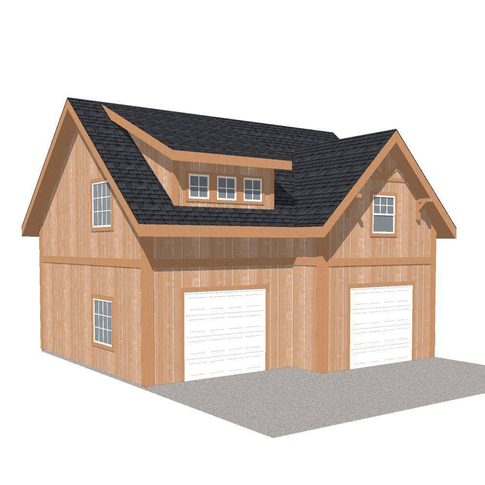 Barn Pros 2-Car 30 ft. x 28 ft. Engineered Permit-Ready Garage Kit with Loft (Installation Not Included), Browns / Tans