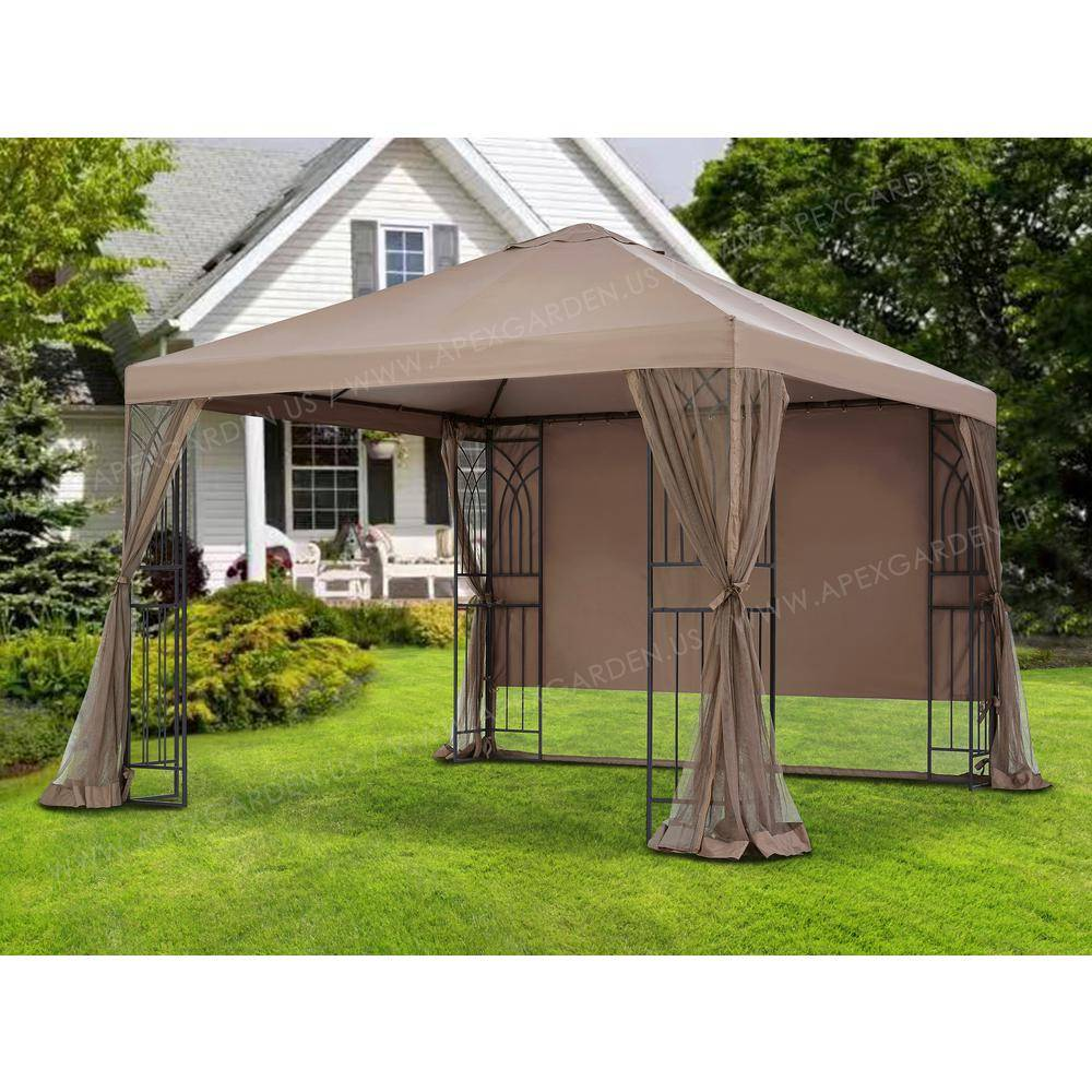 APEX GARDEN 10 ft. x 10 ft. Symphony II Single-Tier Steel Gazebo with 108 in. H Mosquito Net, Privacy Screen and Planter Holders, Browns / Tans