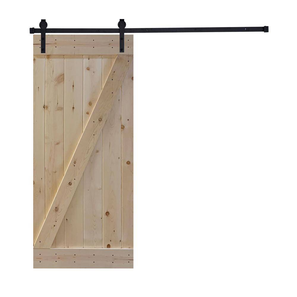 Akicon Assembled Z2 Series 36 in. x 84 in. 12 Panel Unfinished Wood Sliding Single Barn Door with Hardware Kit, Z2 Style