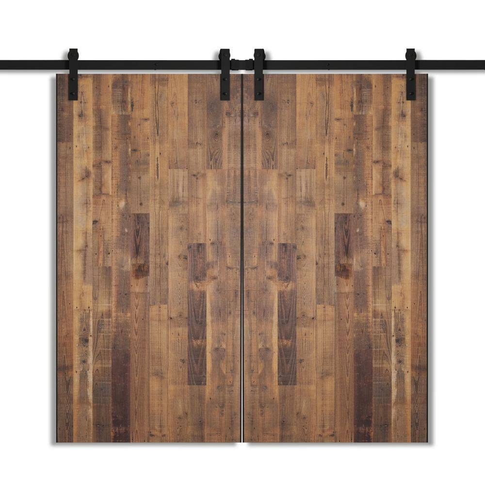Urban Woodcraft 40 in. x 83 in. Marina Reclaimed Wood Double Barn Door with Hardware Kit, Natural