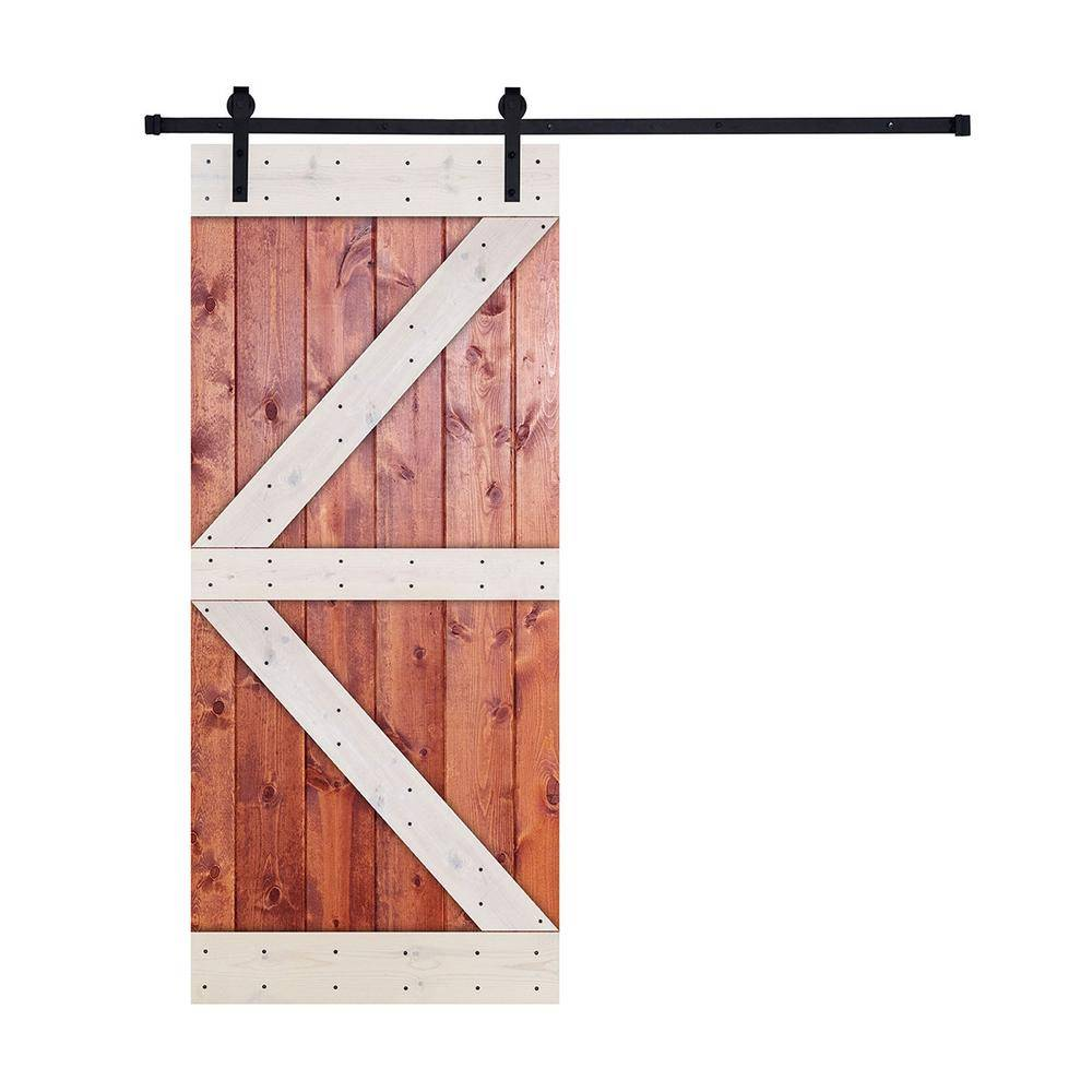 Akicon 36 in. x 84 in. 12-Panel Contrast Honey and White Color K Series Paneled Wood Single Barn Door with Hardware Kit, K Style