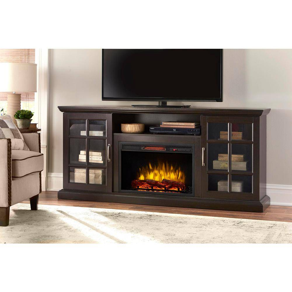 Home Decorators Collection Edenfield 70 in. Freestanding Infrared Electric Fireplace TV Stand in Espresso, Brown