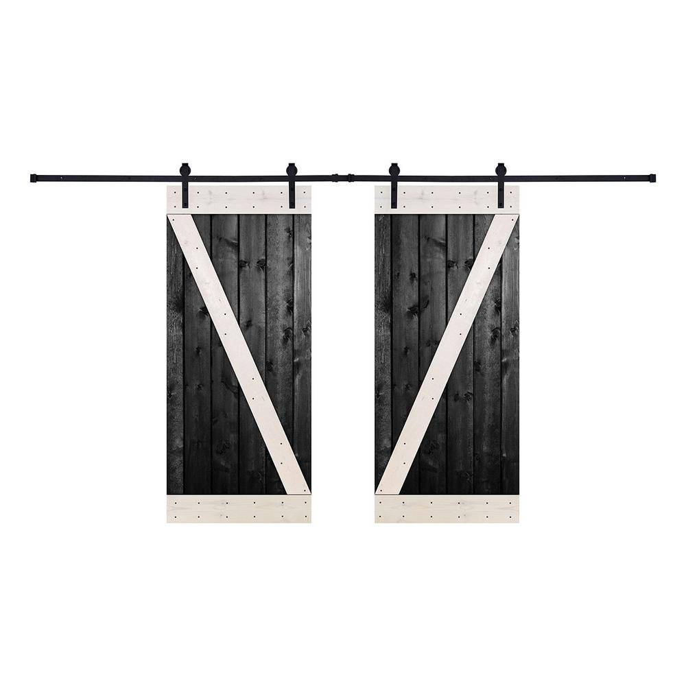 Akicon 56 in. x 84 in. 12-Panel Contrast Black White Color DZ Series Paneled Wood Double Barn Door with Hardware Kit - BW Color, Z Style