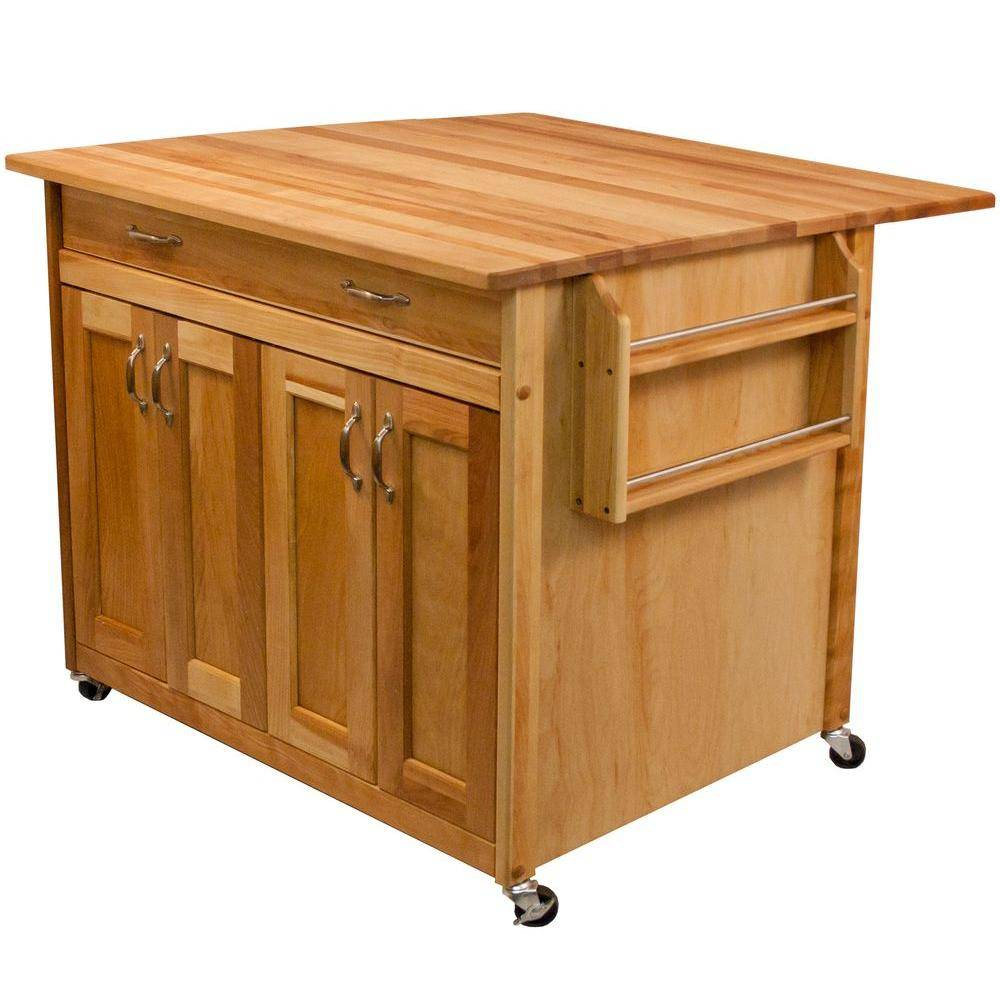 Catskill Craftsmen Natural Wood Kitchen Cart with Drop Leaf