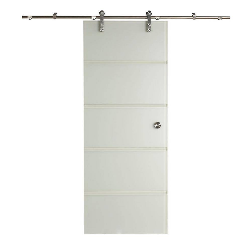 Pinecroft 38 in. x 97 in. Contour Glass Full Lite Frost Sliding Barn Door with Hardware Kit, Opaque and clear tempered glass