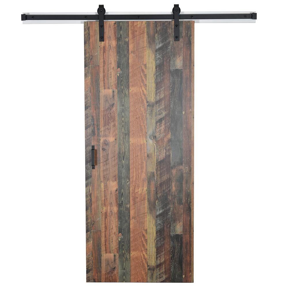 EnVivo 37 in. x 84 in. Antique Bourbon Pine 8215-12 Solid Core Wood Flush Barn Door with Sliding Door Hardware Kit