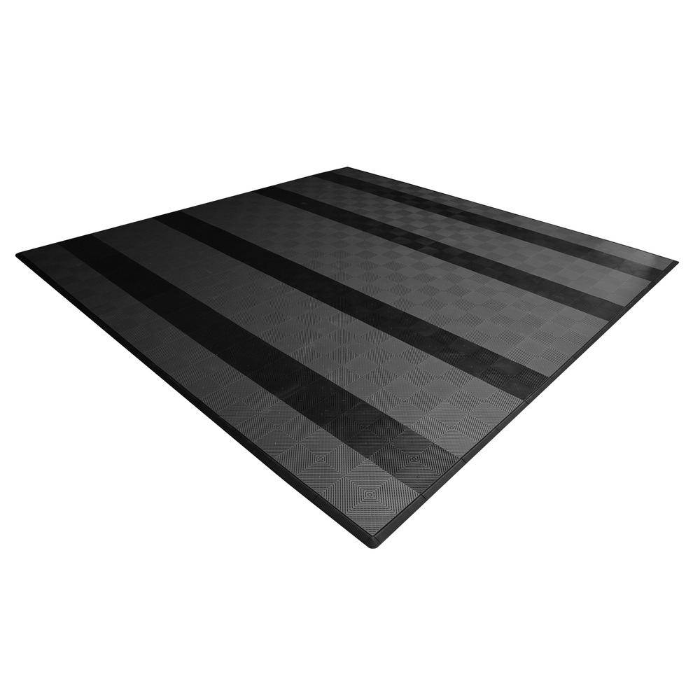 Swisstrax 17.5 ft. x 17.5 ft. Grey with Black Stripes Ribtrax Smooth Eco Flooring, Double Car Pad Kit