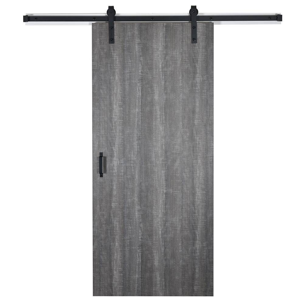 EnVivo 43 in. x 84 in. Weathered Char 8204-16 Solid Core Wood Flush Barn Door with Sliding Door Hardware Kit