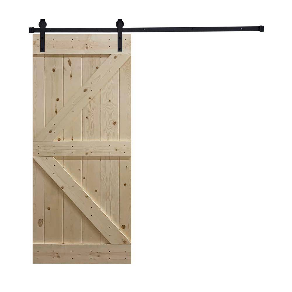 Akicon Assembled K2 Series 30 in. x 84 in. 12 Panel Unfinished Wood Sliding Single Barn Door with Hardware Kit, K2 Style