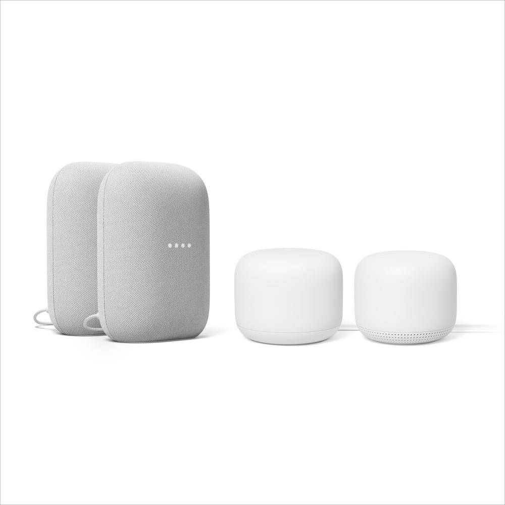 Google Nest Audio Smart Speaker Chalk Plus Nest Wi-Fi Router and Add-on Point Snow (2-Pack)