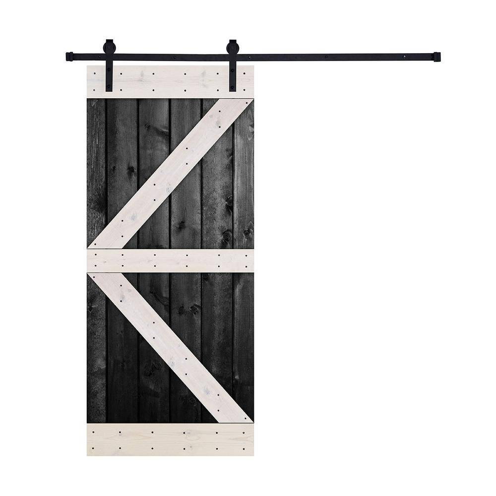 Akicon 36 in. x 84 in. 12-Panel Contrast Black and White Color K Series Paneled Wood Single Barn Door with Hardware Kit, K Style