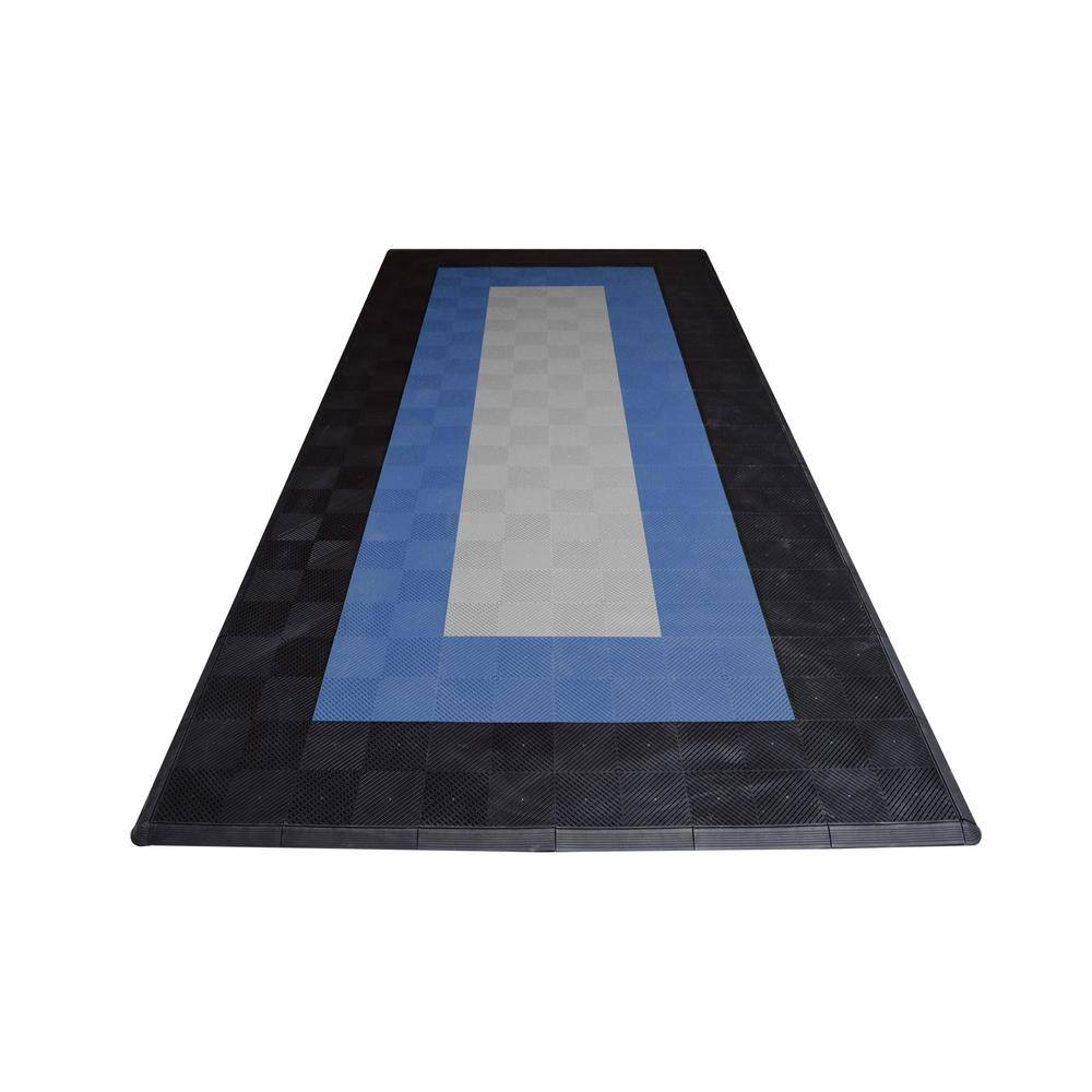 Swisstrax 8.3 ft. x 17.5 ft. Silver with Black and Blue Borders Ribtrax Smooth ECO Single Car Pad Kit, Silver with Black and Red Borders