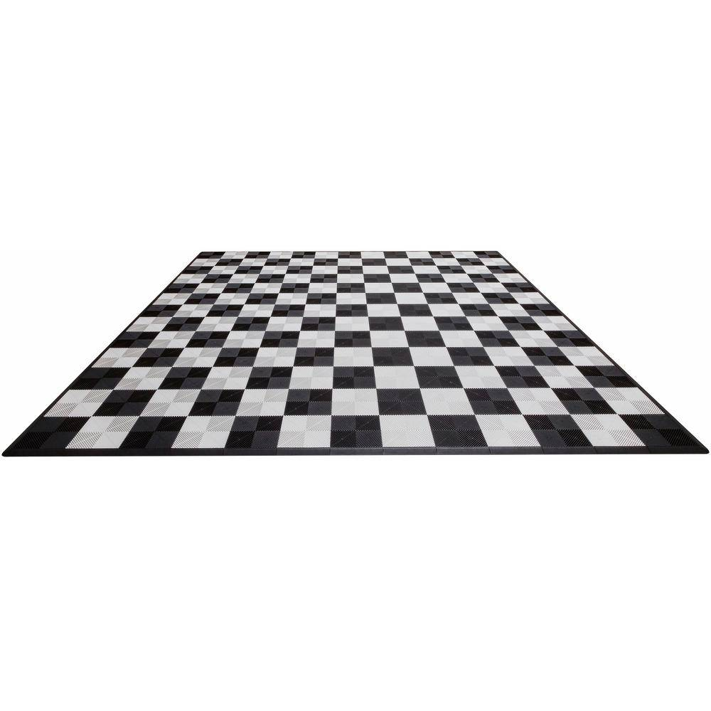 Swisstrax Black and White Checkered Double Car Pad Ribtrax Modular Tile Flooring (268 sq. ft./case), White and Black
