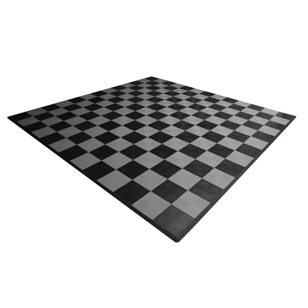 Swisstrax 17.5 ft. x 17.5 ft. Black and Silver Checkered Ribtrax Smooth Eco Flooring, Double Car Pad Kit, Black & Silver Checker