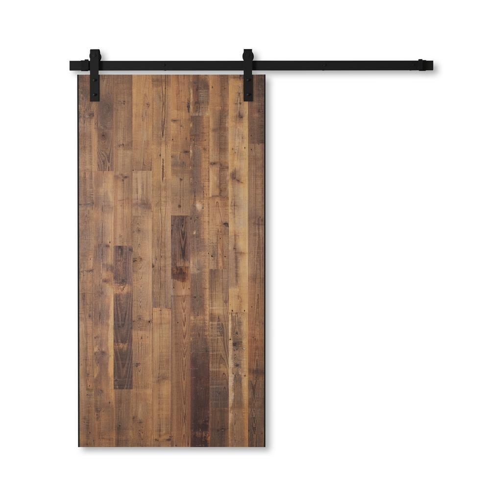 Urban Woodcraft 40 in. x 83 in. MARINA 40 in. x 83 in. Reclaimed Wood Sliding Barn Door with Hardware Kit, Unfinished/ Reclaimed Barn Door