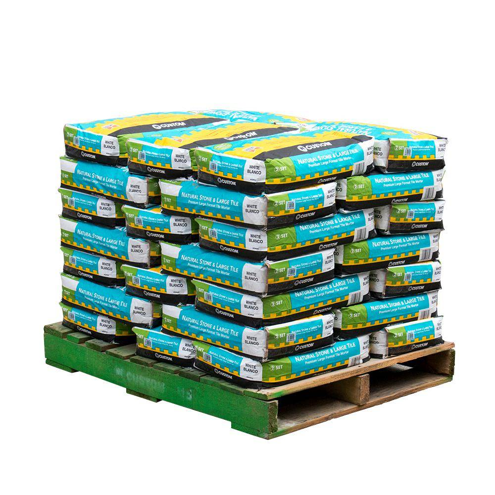 Custom Building Products Natural Stone and Large Tile 50 lb. White Premium Mortar (35 Bags / Pallet)
