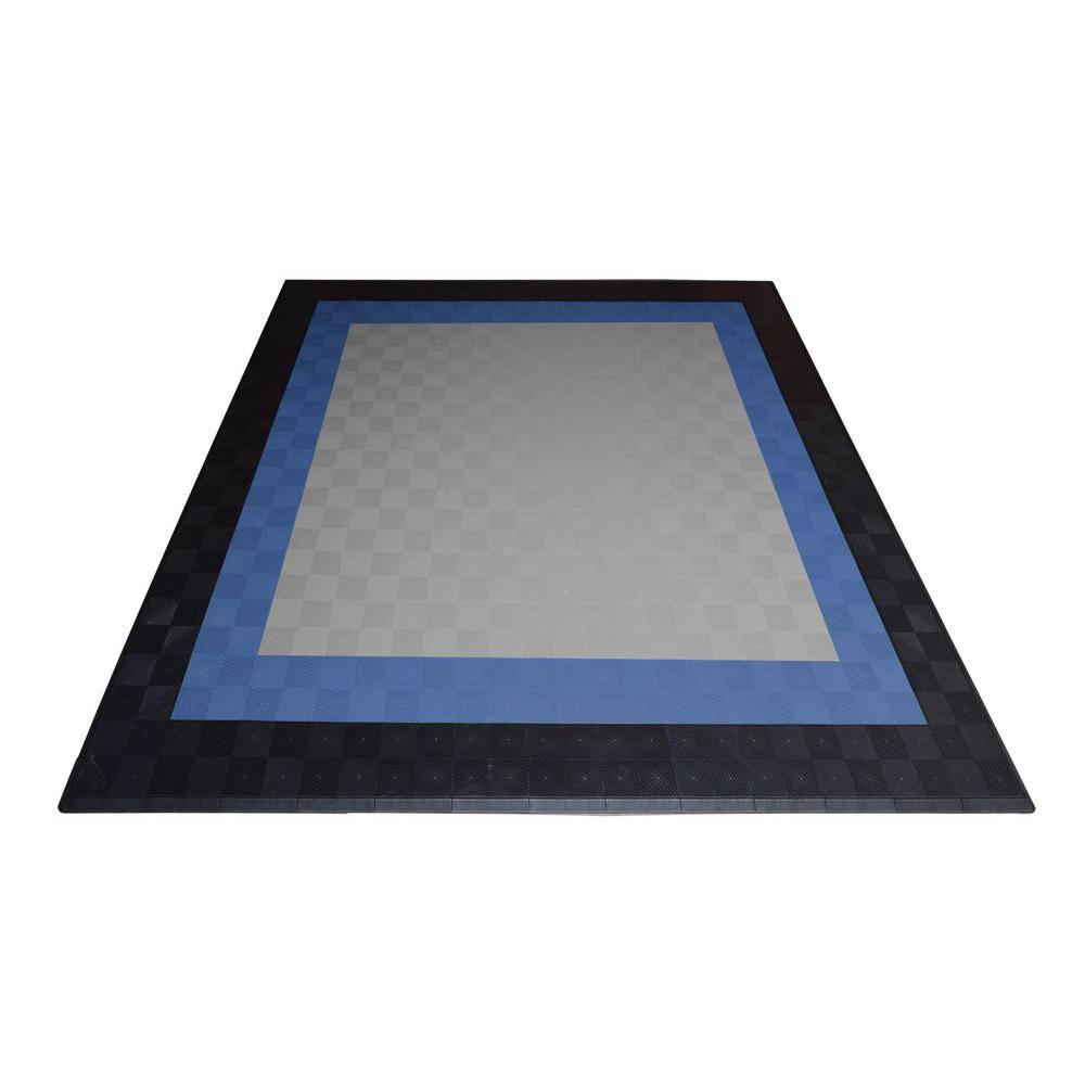 Swisstrax 17.5 ft. x 17.5 ft. Silver with Black and Blue Borders Ribtrax Smooth ECO Double Car Pad Kit