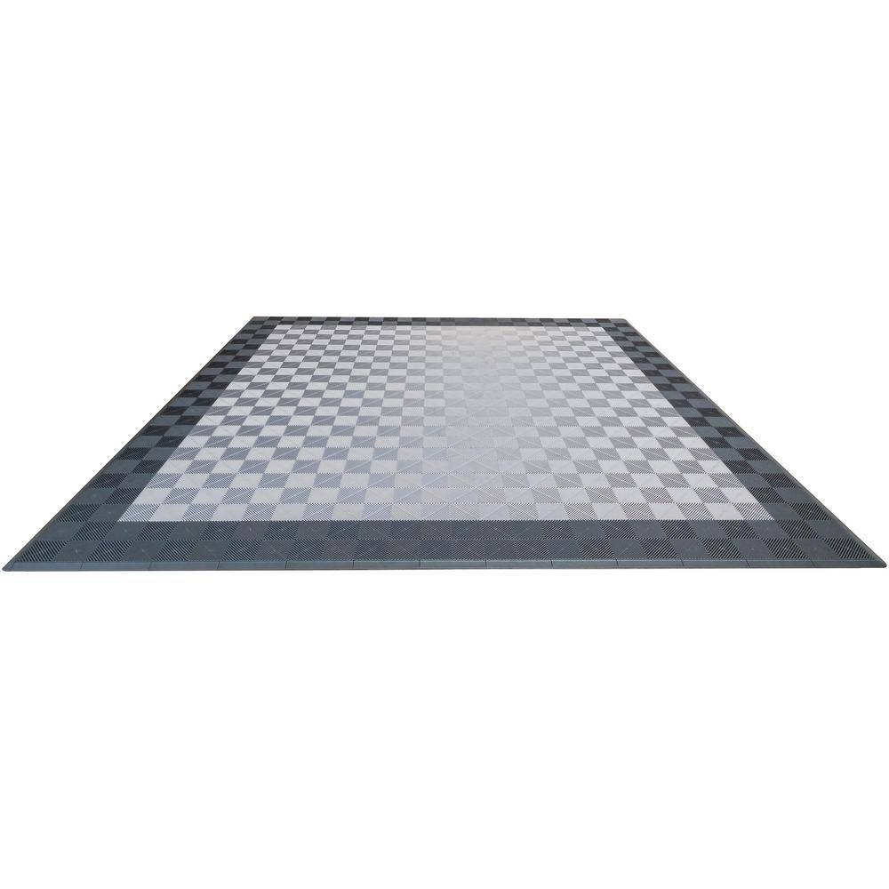 Swisstrax Grey and Silver Double Car Pad Ribtrax Modular Tile Flooring (268 sq. ft./case), Slate Grey and Pear Silver