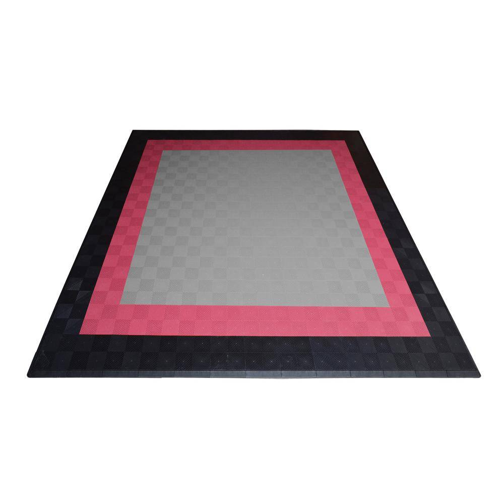 Swisstrax 17.5 ft. x 17.5 ft. Silver with Black and Red Borders Ribtrax Smooth Eco Flooring, Double Car Pad Kit