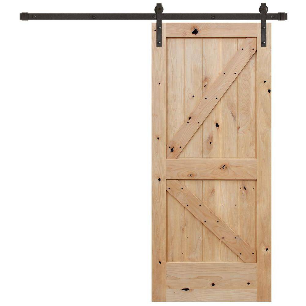 Pacific Entries 36 in. x 84 in. Rustic Unfinished 2-Panel V-Groove Left Knotty Alder Wood Sliding Barn Door with Bronze Hardware
