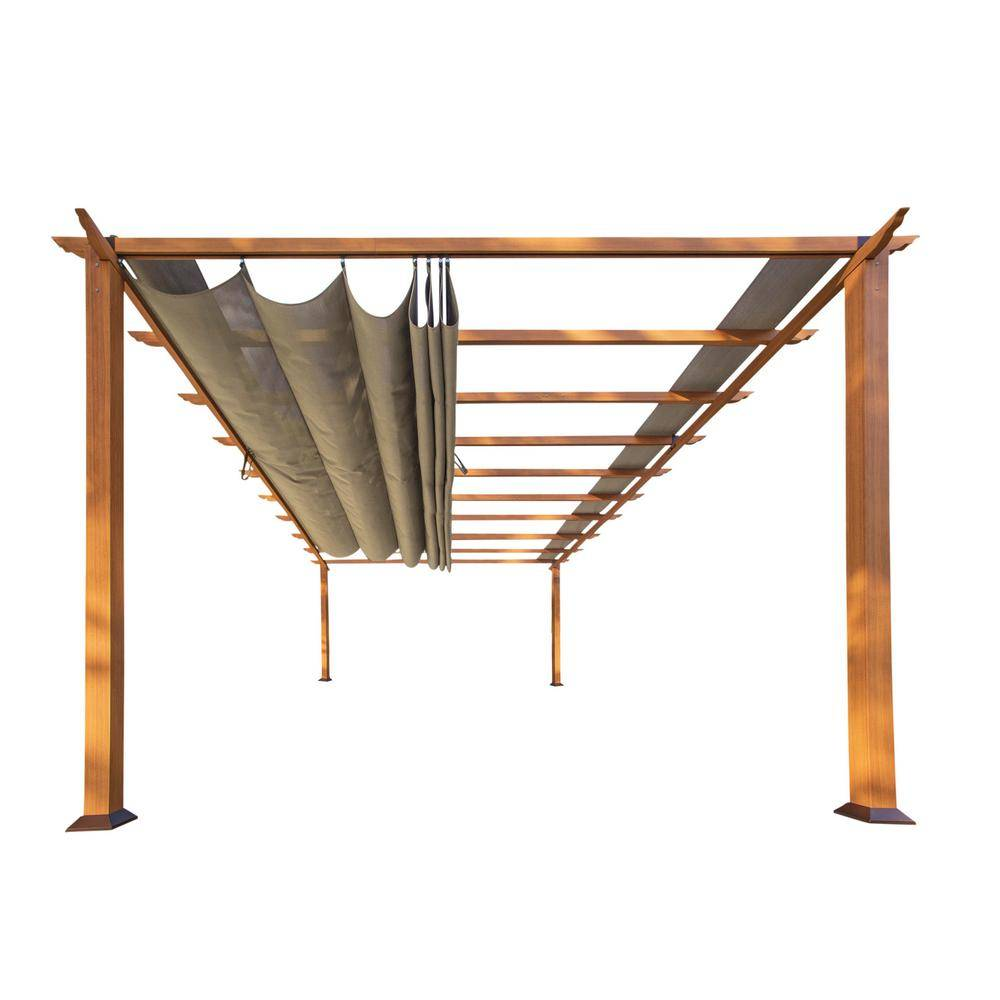 Paragon Outdoor Paragon 11 ft. x 16 ft. Pergola with the Look of Canadian Wood and Sand Canopy, Browns / Tans