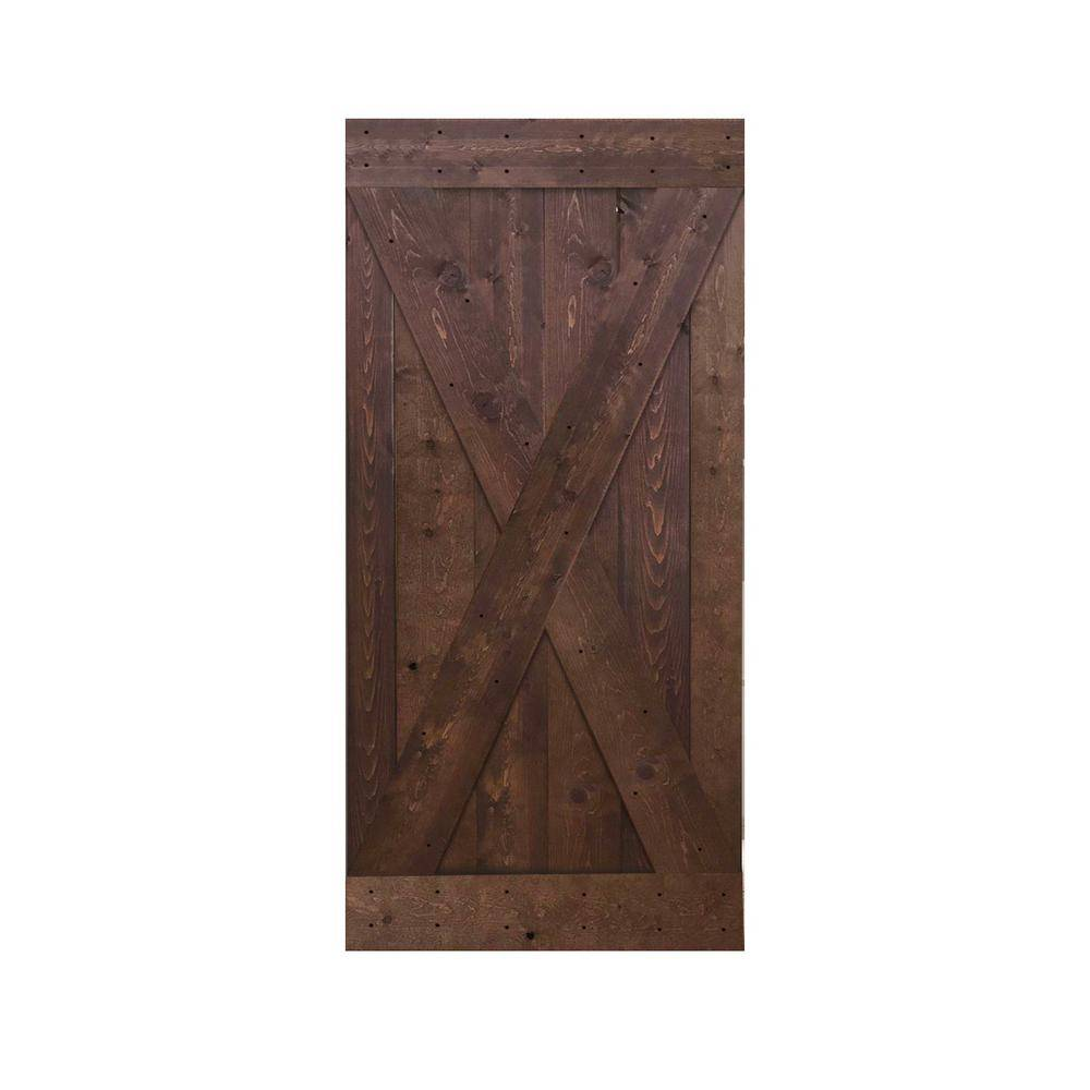 CALHOME 36 in. x 84 in. Knotty Pine Solid Wood Interior Barn Door Slab, Walnut Stain