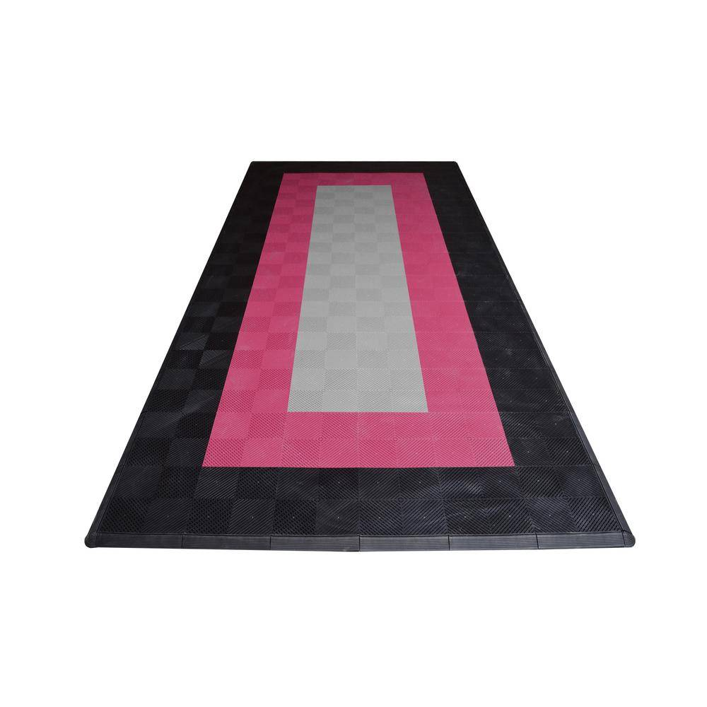 Swisstrax 8.3 ft. x 17.5 ft. Silver with Black and Red Borders Ribtrax Smooth ECO Single Car Pad Kit