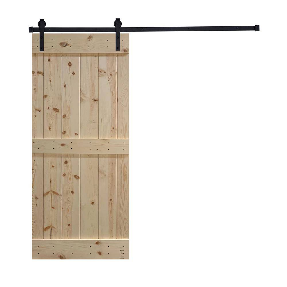 Akicon Assembled K1 Series 24 in. x 84 in. 12 Panel Unfinished Wood Sliding Single Barn Door with Hardware Kit, K1 Style
