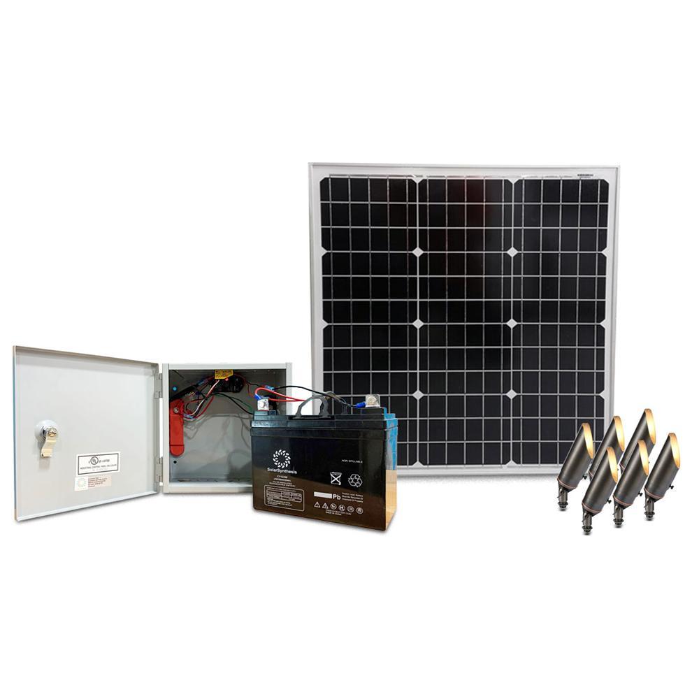 SolarSynthesis Outdoor Solar Power Supply with 6 Antique Bronze Spotlights, a 50-Watt Solar Panel an