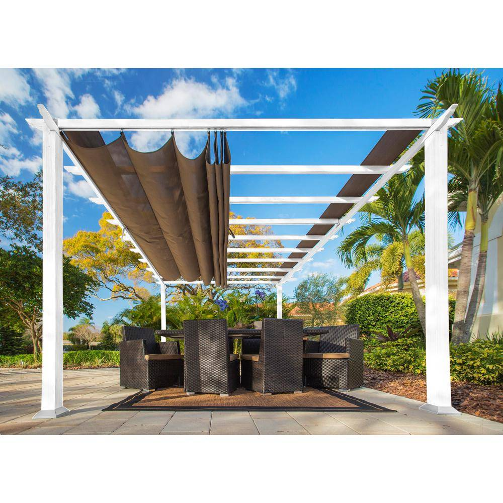 Paragon Outdoor Paragon 11 ft. x 16.5 ft. White Aluminum Pergola with Cocoa Color Canopy, Whites