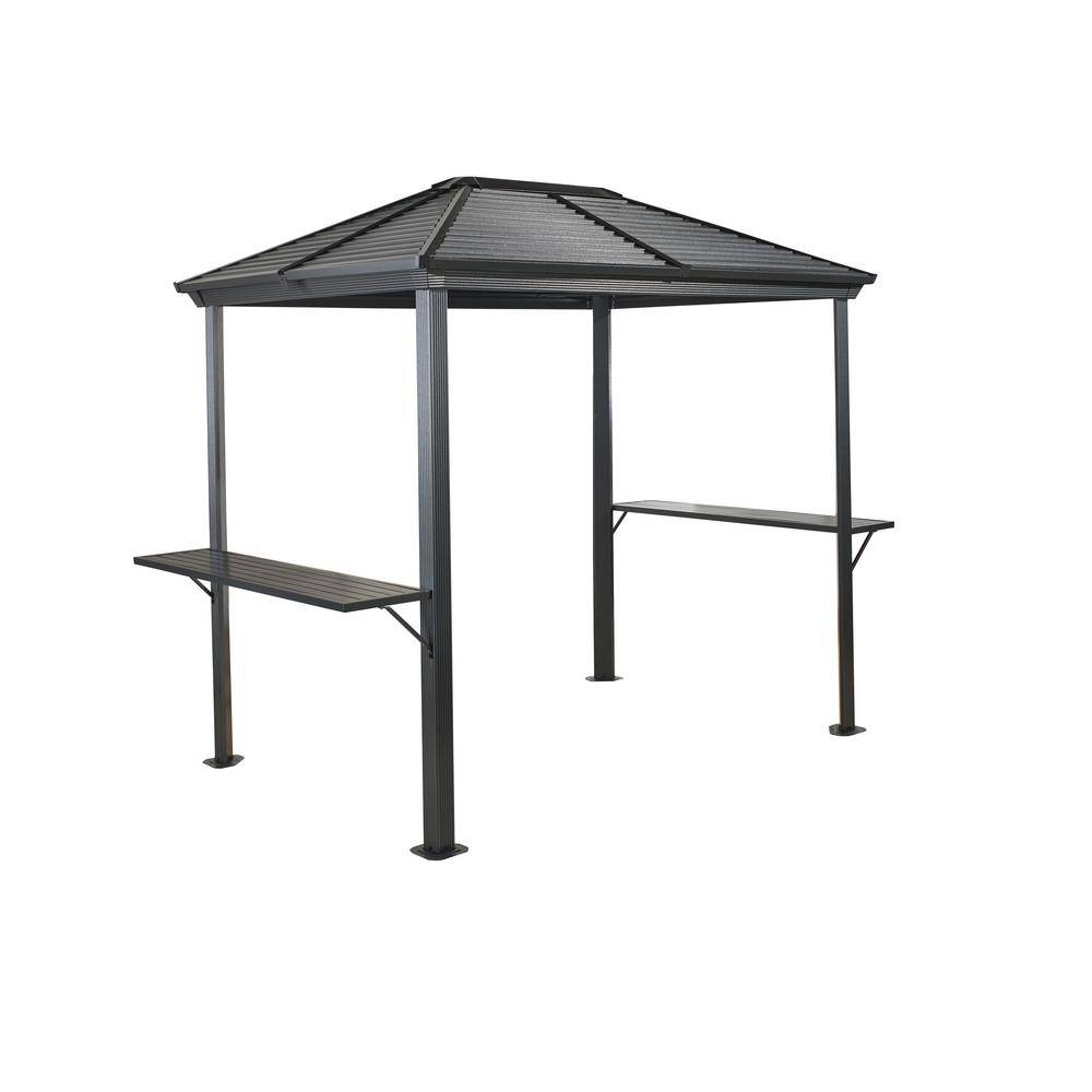 Sojag 5 ft. D x 8 ft. H Ventura Aluminum Grill Shelter in Dark Gray with Galvanized Steel Roof and High-Quality Paint, Grays