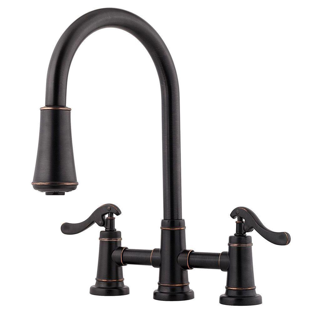 Pfister Ashfield 2-Handle Pull-Down Sprayer Kitchen Faucet in Tuscan Bronze