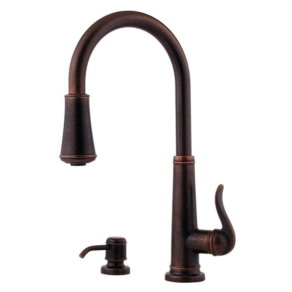Pfister Ashfield Single-Handle Pull-Down Sprayer Kitchen Faucet in Rustic Bronze
